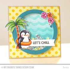 Penguins in Paradise, Polka Dot Background, Circle STAX Set 1 Die-namics, Penguins in Paradise Die-namics, Stitched Circle Frames Die-namics - Torico #mftstamps