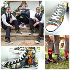 Superhero converses & socks on groomsmen at (an epic) wedding
