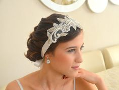 Bridal+headbands | White lace bridal headband floral lace bridal headband by xxyz | We ...