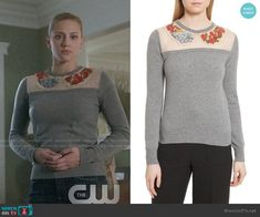 Betty's grey sweater with floral embroidery on Riverdale.  Outfit Details: https://wornontv.net/95248/ #Riverdale