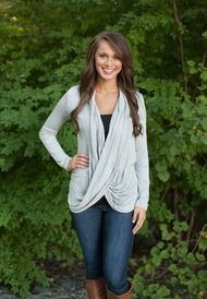 Grey Crossover Blouse