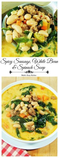 Spicy Sausage, White Bean, and Spinach Soup #SundaySupper - Spicy Italian sausage, creamy white beans, and all of that fresh baby spinach makes for one hearty and healthy soup. Looking for a meatless idea? Omit the sausage, use veggie stock, and add a pinch of red pepper flakes!