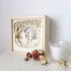 Sweet Lovers Paper Cut Light Box Shadow Box Perfect Gift