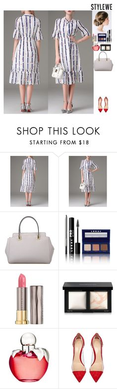 """""""Outfit StyleWe"""" by eliza-redkina ❤ liked on Polyvore featuring LORAC, Urban Decay, Bare Escentuals, Nina Ricci, Gianvito Rossi, outfit, like, look, event and stylewe"""