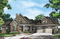 Plan of the Week over 2500 sq ft - The Ironwood 1331-D! Rustic details adorn this mountain design, from the stone and shake exterior to the vaulted great room. #WeDeisgnDreams