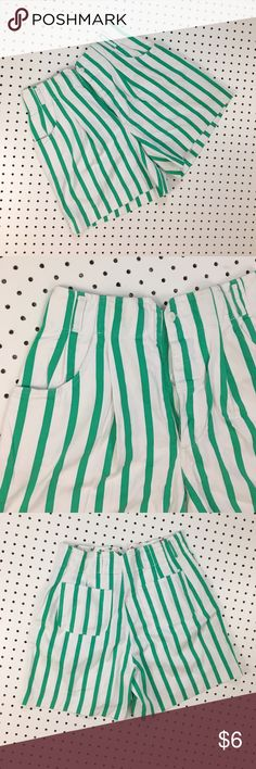 "Vintage striped high waisted shorts Super fun ""mom shorts""- on trend but authentic vintage. Grass green stripes on white shorts. Tag reads size 11, modern day size Medium Vintage Shorts"