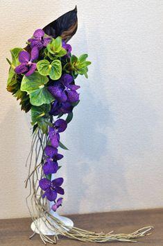 Tropical bouquet, Vanda, Anthurium, Leucadendron, Curcuma, roots of Orchid #purpleflowers