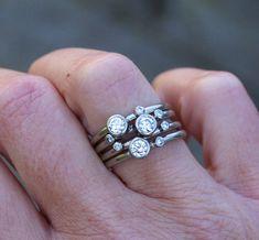 Diamond stacking rings 18ct white gold diamond rings
