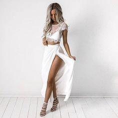 Two Piece Lace Crop Top Slit Long Dress Suit