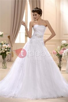 Amazing Ball Gown Strapless Chapel Train Appliques Wedding Dress