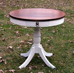 Drum Table in Pure White Chalk Paint® decorative paint by Annie Sloan | Via Wildwood Creek