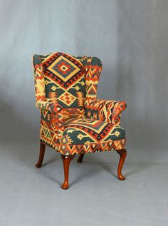 Handwoven Wool Kilim Wingback Armchair sofa chair patchwork Furniture