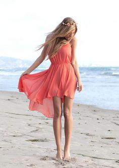 Peach summer, high- low dress