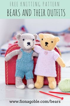Create a single-colour, two-tone, striped bear or panda – all from one basic pattern. There are also instructions to create a host of clothes. Light worsted/double knitting/8-ply yarn. Bears approx. 7in/18cm tall.