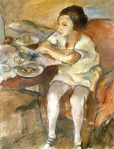 Jules Pascin, Sitzendes Mädchen, huile sur toile, 1908,