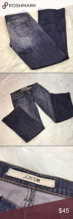Joe's Jeans Bootcut Distressed Wash Denim Jeans * Joe's Jeans Bootcut Distressed Wash Denim Jeans.  * Size W27.  * Made of 98% cotton & 2% lycra. * Pre-owned, but in excellent used condition. No stains, pilling or holes.  * Measurements: Waist laying flat is 15 inches. Length is 37 inches. Inseam is 29 inches. Rise is 7 inches. Joe's Jeans Jeans Boot Cut