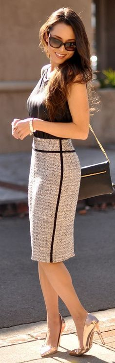 Ann Taylor Tweed Pencil Skirt by Hapa Time. Ann Taylor is a great brand for men looking to expand their work wardrobe to include stylish pencil skirts and skirt suits.