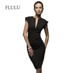 7f4921c8b87 FLULU Summer Dress Women Sexy Solid Slim Pencil Dress Deep V-Neck Office  Business Bodycon