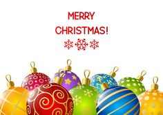 Xmas color balls with white background vector 01