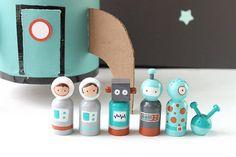 Children's Wooden Toys Space Peg Doll Set by tiffanyleestudios