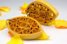 Paper quilled earrings golden danglers lightweight and attractive