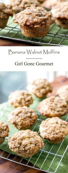 Simple banana walnut muffins with a streusel topping   girlgonegourmet.com
