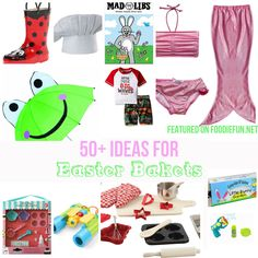 Want to do something different with your kid's Easter Baskets this year? Whether you add something small or big here are 50+ ideas to help give your kids an Easter they'll never forget! 50+ Easter Basket Ideas for Kids Get ready for April showers this year with some adorable rain gear! Ladybug Umbrella with matching Boots & Jacket Shark Umbrella Monkey Umbrella Frog Rain Coat Rain Pants Boy's Galoshes Books are always a favorite in my house! Easter Crack Ups - For your little jokster,...