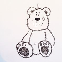 Teddy sketch for a christening gift