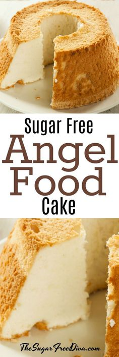 Angel Food Cake that is sugar free! This is such a classic cake to make too. Angel Food Cake that is sugar free! This is such a classic cake to make too. Diabetic Friendly Desserts, Low Carb Desserts, Diabetic Recipes, Dessert Recipes, Desserts For Diabetics, No Sugar Desserts, Sugar Free Angel Food Cake Recipe, Sugar Free Recipes, Angel Recipe