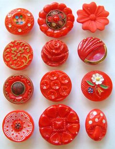 12 Vintage Floral & Art Deco Red Glass Buttons, Enamel Paint, 17mm to 23mm
