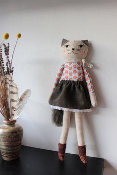 CAT DOLL Kitty Clothdoll Handmade Cat Girl Plush by filomeluna