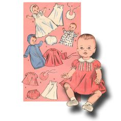 A Baby Shower Really is a Time for Celebration for Everyone Baby Dress Patterns, Baby Clothes Patterns, Baby Doll Clothes, Doll Patterns, Vintage Patterns, Clothing Patterns, Baby Dolls, Sewing Patterns, Barbie Clothes