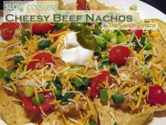 Slow Cooker Cheesy Beef Nachos #Mexican #dinner #appetizer #lunch #snack I love this site http://chickencasserole.org/posts/Slow-Cooker-Cheesy-Beef-Nachos-Mexican-dinner-appetizer-30322