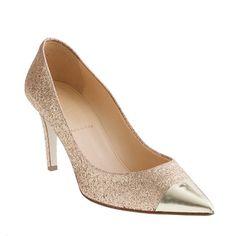 Everly cap toe glitter pumps