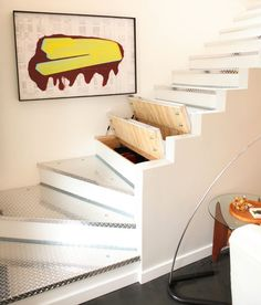 I love this idea of using your staircase as storage