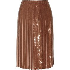 EMILIO PUCCI   Metallic pleated sequined silk-georgette skirt (11.437.380 VND) ❤ liked on Polyvore featuring skirts, emilio pucci, brown pleated skirt, pleated skirt, brown skirt and emilio pucci skirt