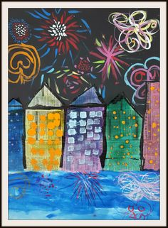 "Jackson Pollock fireworks show (by Calvin)                             This fun and ""everything but the kitchen sink""..."