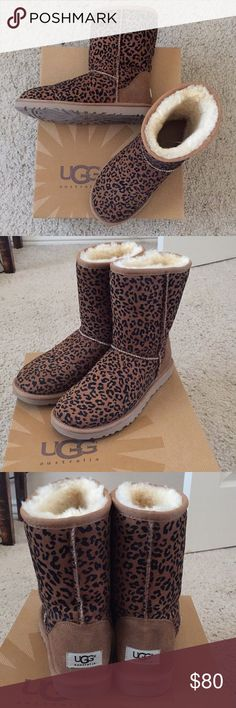 Leopard Ugg Boots Like NEW IN BOX!! Worn once around the house! Short, genuine Uggs (about 8 inches tall). True to size. A little dusty from being on a top shelf in my closet, so they need a good home! UGG Shoes Winter & Rain Boots