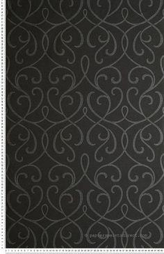 Entrelacé baroque noir et argent métallisé - papier peint Lutèce