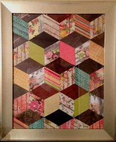 Tumbling blocks quilt pattern.. since my sewing machine is broken, I could probably do this with fabric or paper scraps on some wood!!