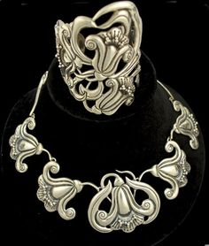 Cuff & Necklace | Designer ? (Signed FD).  Sterling silver, ca. 1930s - 40s, Mexico.