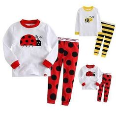 a6001ad619ae Baby Boys Girls Long Sleeve Ladybug Or Bumblebee Pajamas Girls Sleepwear