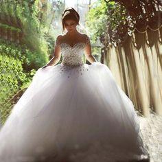Luxury Crystal Sheer Long Sleeves Wedding Dress- Lots of Crystals, Backless, Floor Length - www.weddingboutique.co