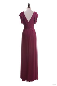 country wedding Flutter Sleeve Chiffon Dress with Sequin Belt $132.98