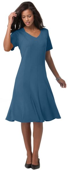 V-Neck Fit & Flare Dress (519-29483-521) Exotic Peacock
