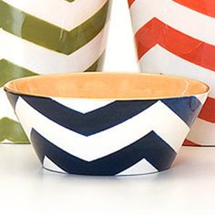 Chevron Bowl. I love the navy, white and orange combo. @Ashley Walters Walters Hicks - idea for the paint your own pottery place!