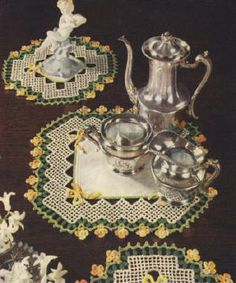 Flowers & Bows Buffet or Vanity Set Vintage Doily Crochet Pattern for download