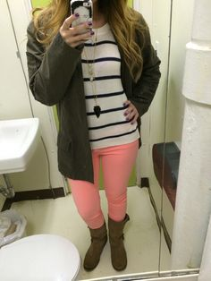 neon fall outfit: --camel boots: American eagle (had them for years! great investment) --neon peach skinnies: American eagle --striped sweater: forever 21 --green army jacket: recycled boyfriend's shirt (another fav) --necklaces: both Jessica Matrasko jewelry