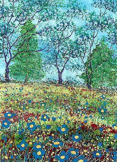 """""""Les Fleurs Bleues"""" Art Card Painting, by Hélène Howse"""