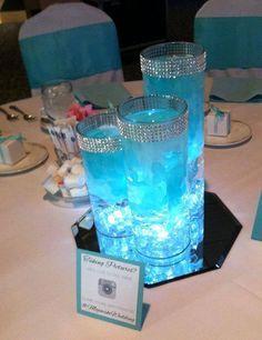Stunning Tiffany Blue Centerpiece! Petals and LED lights inside vase!